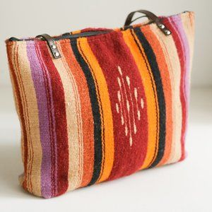 Colourful Wool Southwestern Mexican Blanket Tote